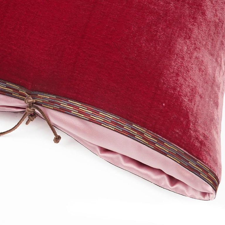 A luxury handmade decorative throw pillow made of solid silk and rayon velvet, great for adding rich color and comfort to any contemporary living room, bedroom, or lounge. Silk velvet is high quality fabric with a soft, lush pile and a lustrous