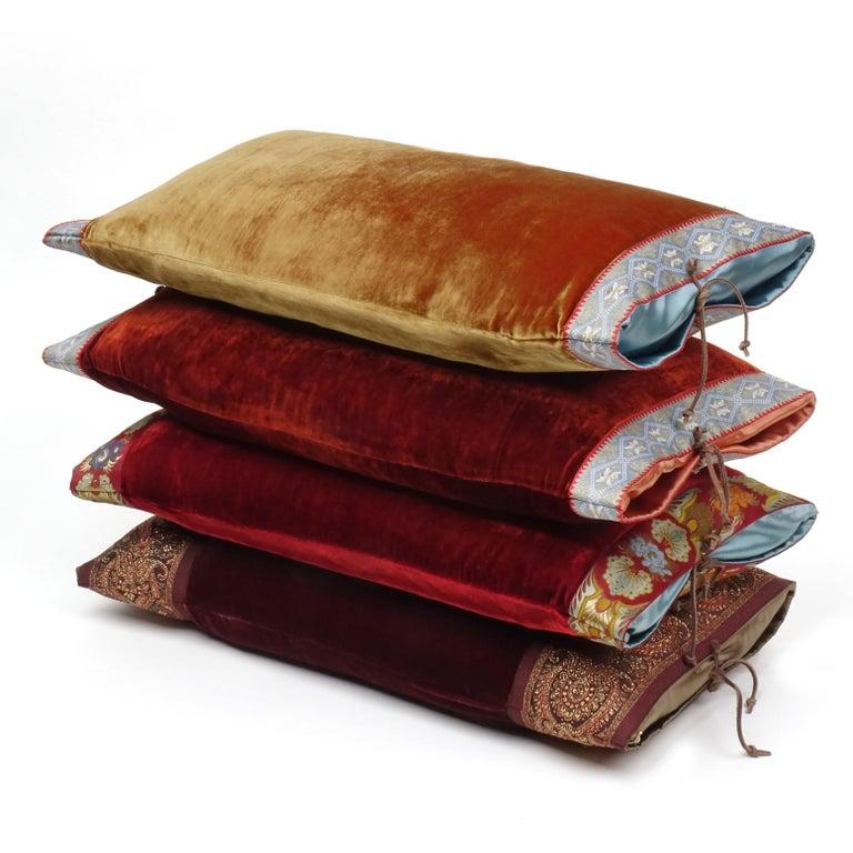 American Silk Velvet Throw Pillow Rust For Sale