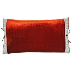 Silk Velvet Throw Pillow Rust
