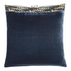 Silk Velvet Throw Pillow Sailor Blue