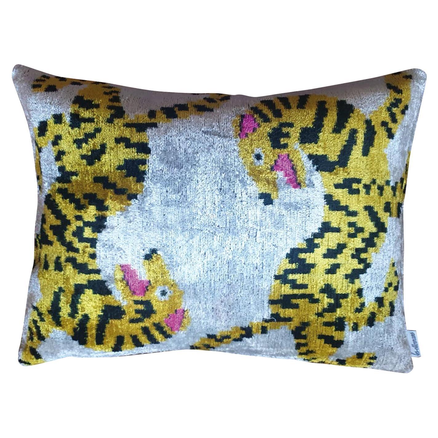Silk Velvet Tigers Cushion