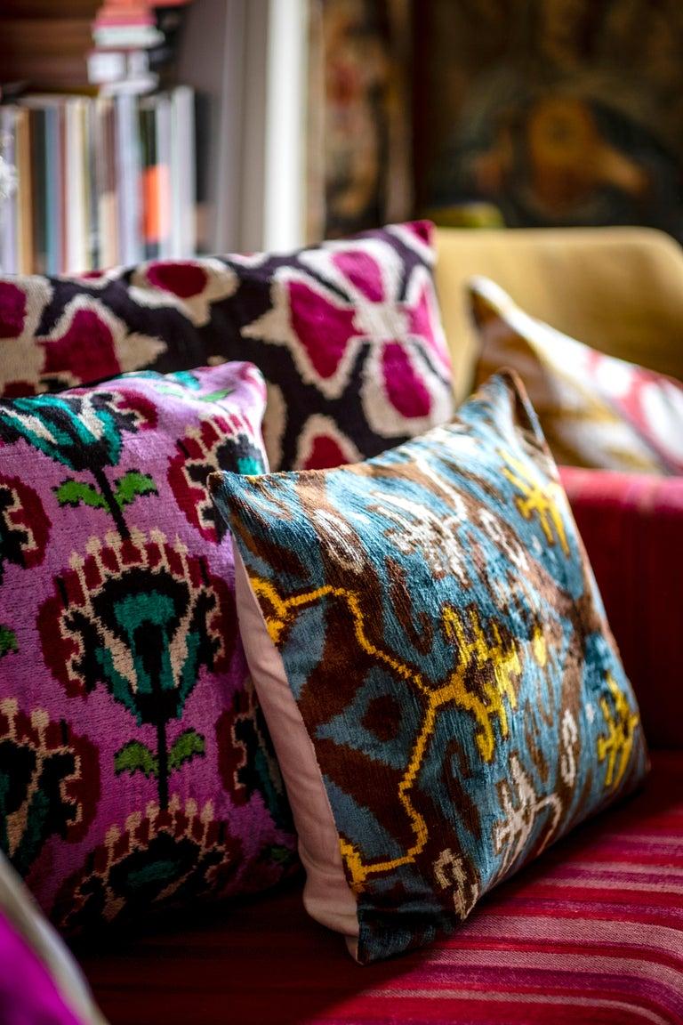 Italian Silk Velvet Turquoise Yellow Pillow  For Sale