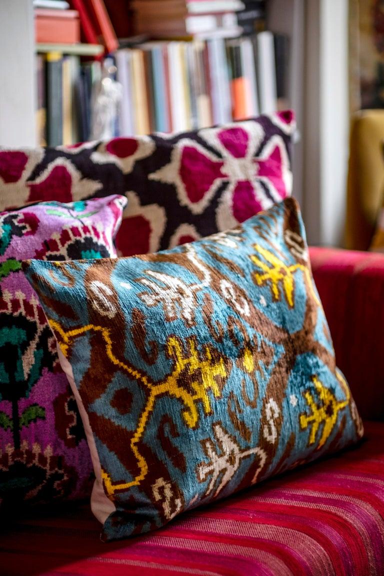 Hand-Woven Silk Velvet Turquoise Yellow Pillow  For Sale