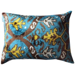 Silk Velvet Turquoise Yellow Pillow