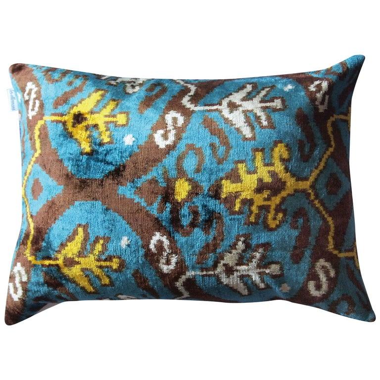 Silk Velvet Turquoise Yellow Pillow  For Sale