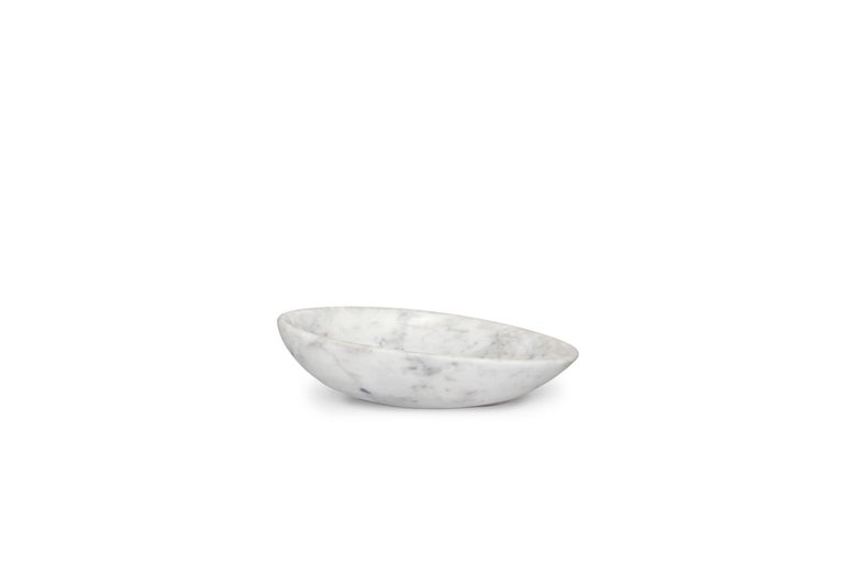 Modern Silk Vessel Sink with Carrara Marble For Sale
