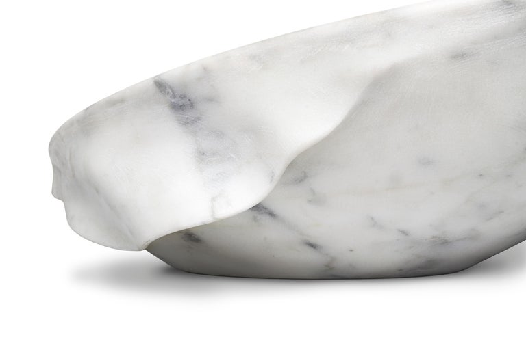 Silk Vessel Sink with Carrara Marble For Sale 1