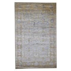 Silk with Oxidized Wool Mamluk Design Oriental Rug