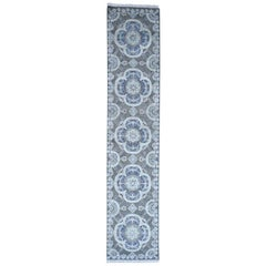 Silk with Oxidized Wool Rosette Design Hand Knotted Oriental Rug
