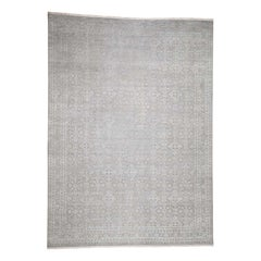 Silk with Oxidized Wool Tone on Tone Hand Knotted Oriental Rug