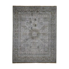 Silk with Textured Oxidized Wool Mamluk Design Oriental Rug