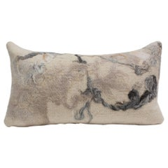 Silk & Wool Felted Lumbar Pillow with Raw Cashmere