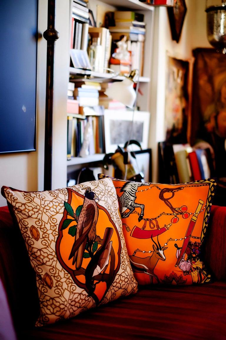 Italian Silk Zebra Arabesque Pillow For Sale