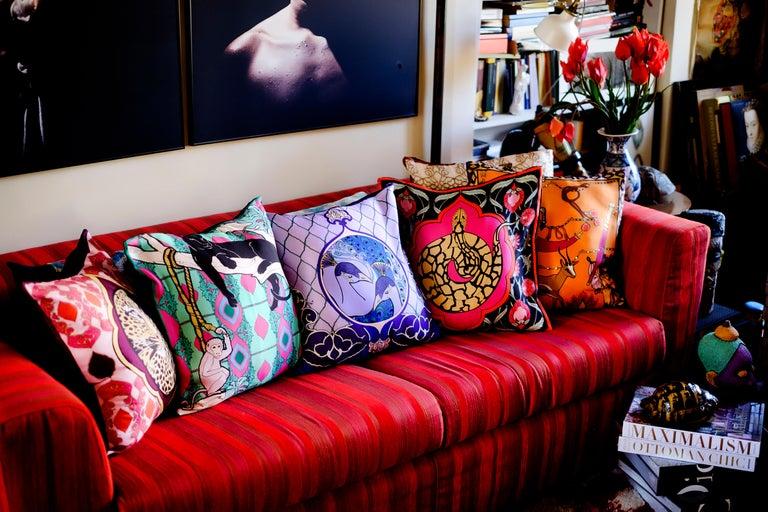 Contemporary Silk Zebra Arabesque Pillow For Sale