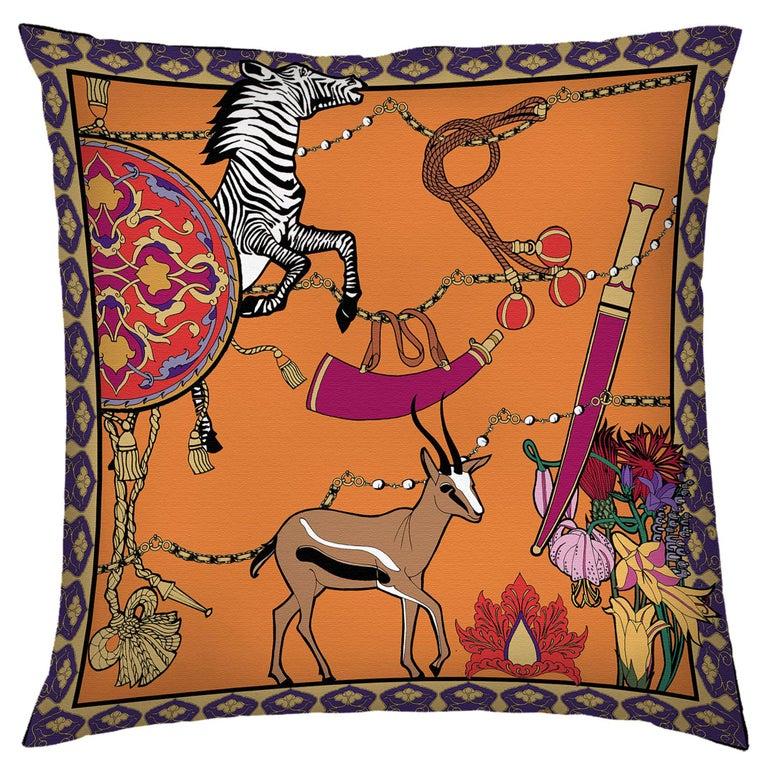 Silk Zebra Arabesque Pillow For Sale