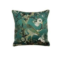 Silkbird Green Emerald Damast Bird and fForal Pillow Cushion