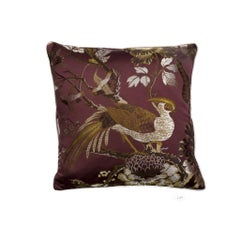 Silkbird Purple and Silver Damast and Floral Silk-Cotton Pillow/Cushion