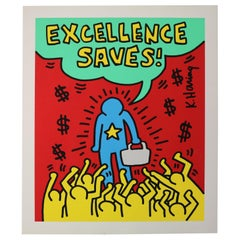 "Silkscreen Poster by Keith Haring Lithograph ""Excellence Saves"", 1994"