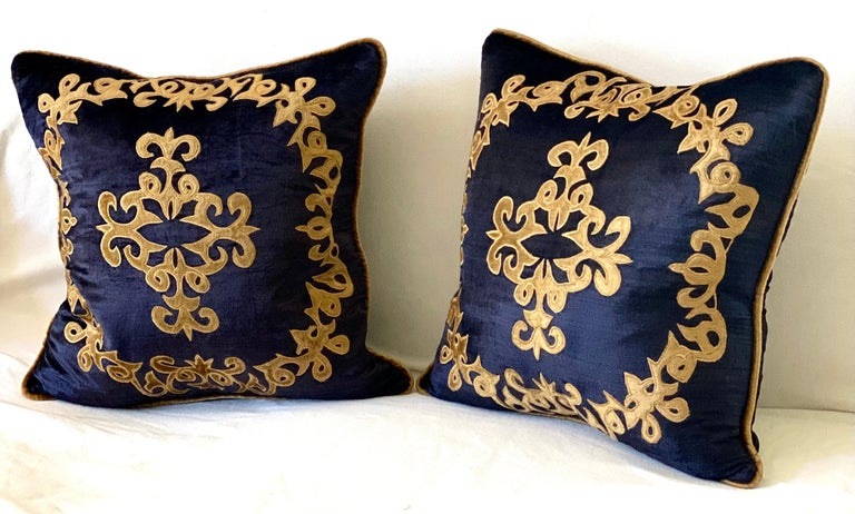 Baroque Revival Silky Midnight Blue Velvet Pillows with Gold Applique, Gold Silk Cord Detail,'2' For Sale