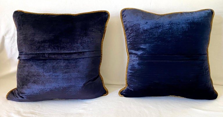 British Silky Midnight Blue Velvet Pillows with Gold Applique, Gold Silk Cord Detail,'2' For Sale