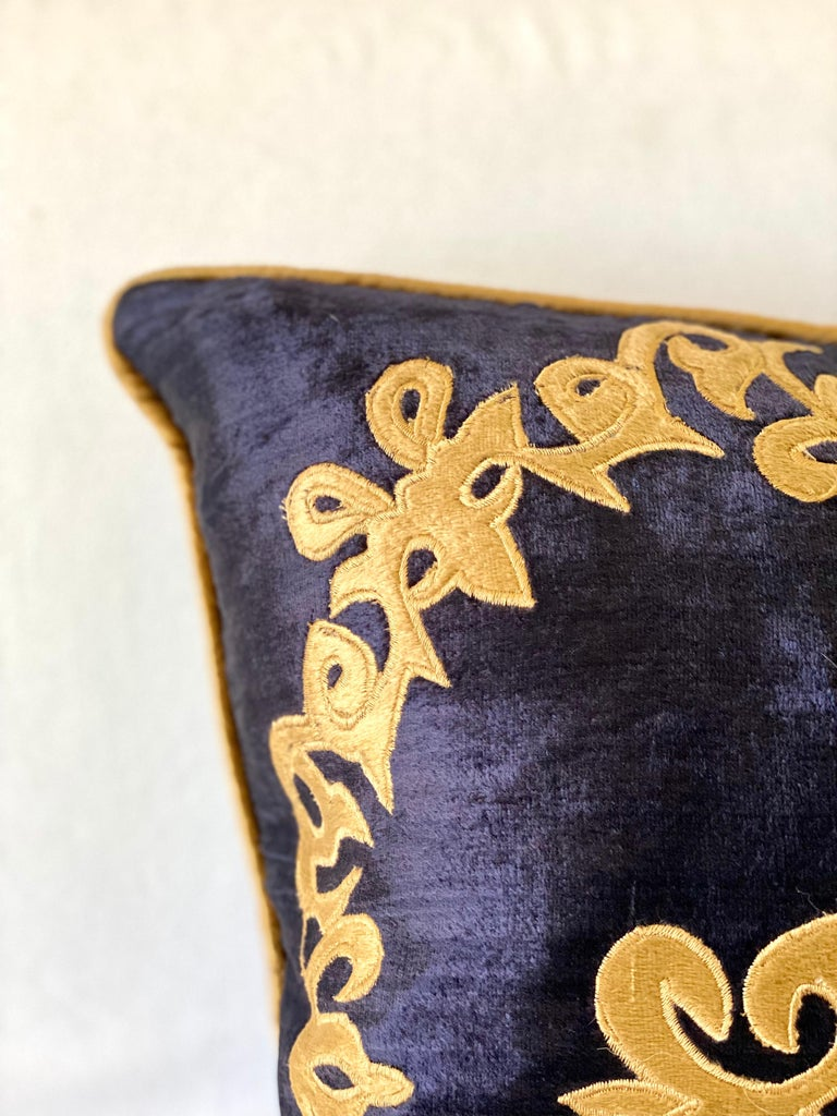 Appliqué Silky Midnight Blue Velvet Pillows with Gold Applique, Gold Silk Cord Detail,'2' For Sale