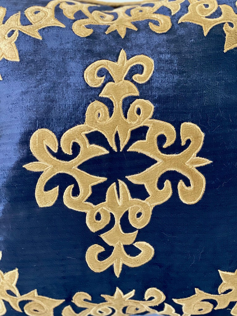 Late 20th Century Silky Midnight Blue Velvet Pillows with Gold Applique, Gold Silk Cord Detail,'2' For Sale