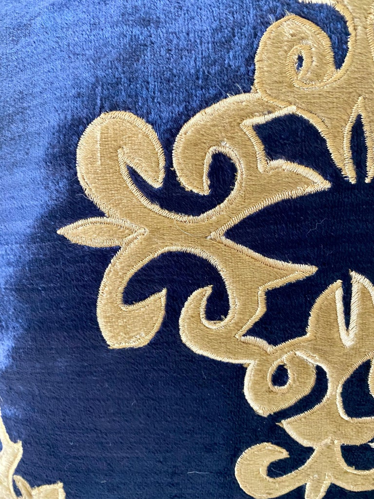 Silky Midnight Blue Velvet Pillows with Gold Applique, Gold Silk Cord Detail,'2' For Sale 1