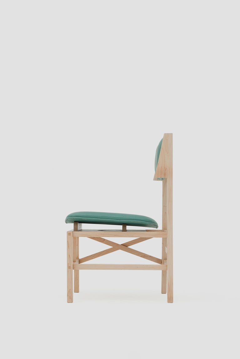 Silla México Maple Dining Chair with Green Leather Upholstered Seats In New Condition For Sale In Mexico City, MX