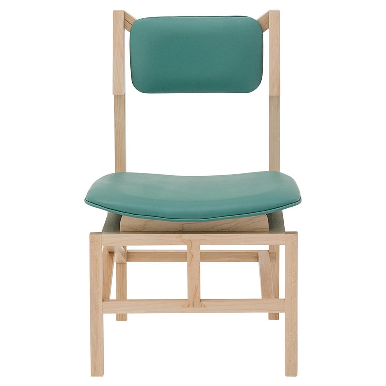 Silla México Maple Dining Chair with Green Leather Upholstered Seats For Sale