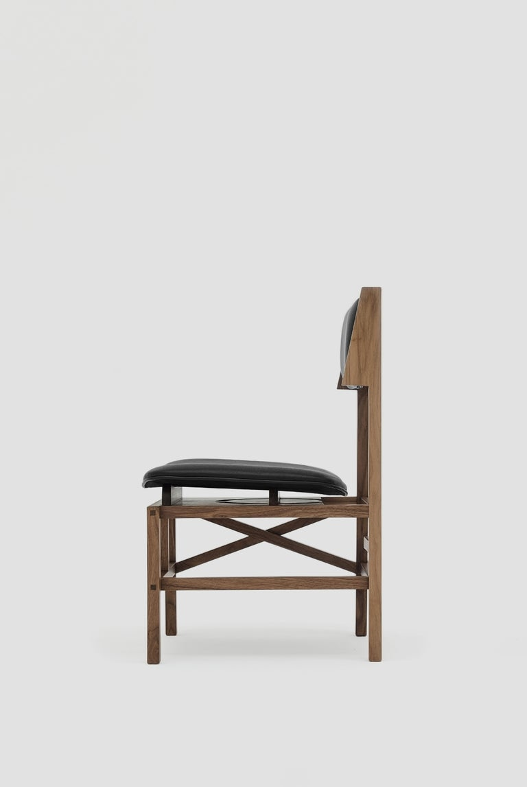 Silla México Walnut Dining Chair with Black Leather Upholstered Seats In New Condition For Sale In Mexico City, MX