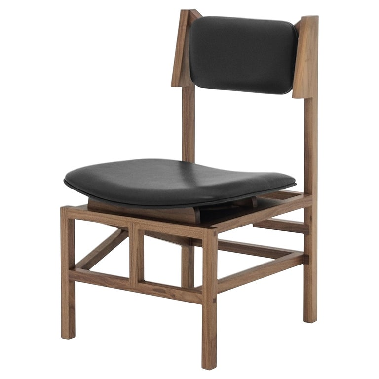 Silla México Walnut Dining Chair with Black Leather Upholstered Seats For Sale