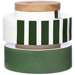 Silos Set of Two Green and White Boxes with Lid