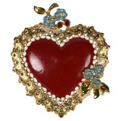 Silson Art Deco Enamel Heart