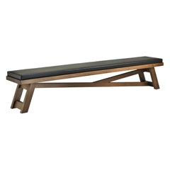 Silvanus Long Bench in Solid Oak with Seat Cushion