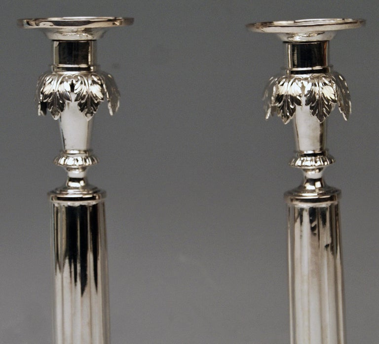 Gorgeous German silver pair of candlesticks of finest manufacturing quality as well as of most elegant appearance: