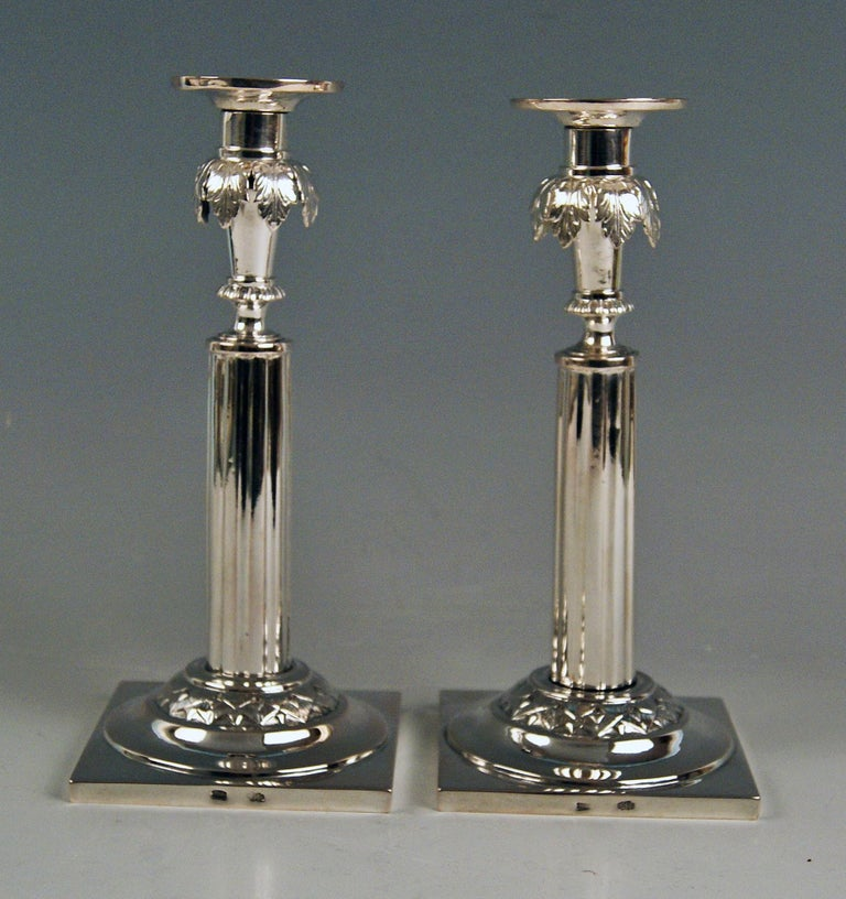 Silver 12 Lot German Two Candlesticks Empire Period Leipzig Made circa 1790 For Sale 2