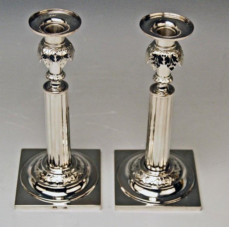 Silver 12 Lot German Two Candlesticks Empire Period Leipzig Made circa 1790 For Sale 3
