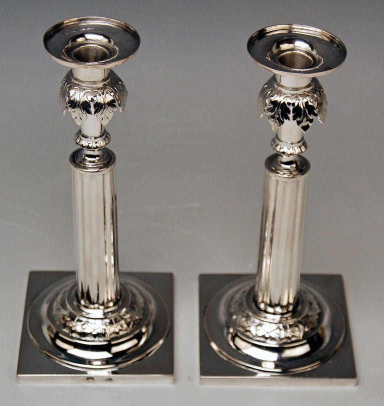 Silver 12 Lot German Two Candlesticks Empire Period Leipzig Made circa 1790 For Sale 4