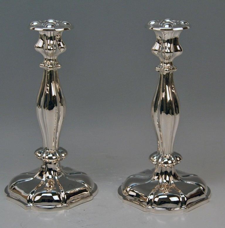 Silver 13 Lot 812.5 Austrian Pair of Biedermeier Candlesticks, Vienna, 1857 In Good Condition For Sale In Vienna, AT