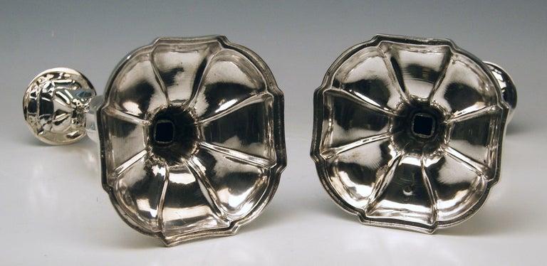 Silver 13 Lot 812.5 Austrian Pair of Biedermeier Candlesticks, Vienna, 1857 For Sale 3