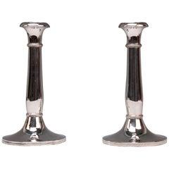 Silver 13 Lot 812.5 Vienna Two Biedermeier Candlesticks, circa 1830, Austria