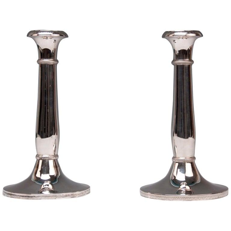 Silver 13 Lot 812.5 Vienna Two Biedermeier Candlesticks, circa 1830, Austria For Sale