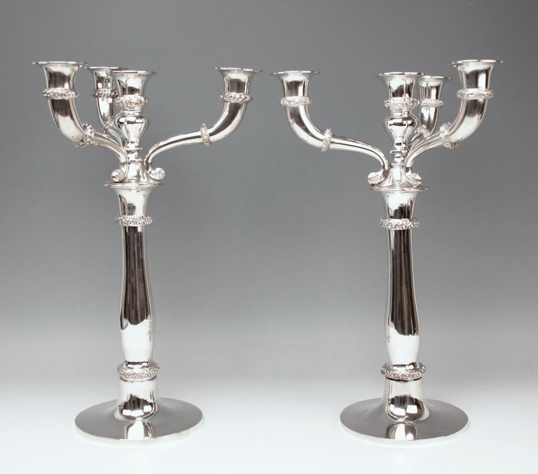 Austrian Silver 13 Lot 812.5 Vienna Two Biedermeier Candlesticks Candelabras 1829 Austria For Sale