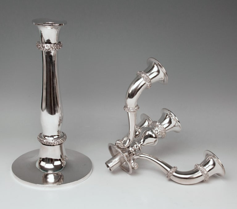 Silver 13 Lot 812.5 Vienna Two Biedermeier Candlesticks Candelabras 1829 Austria For Sale 1