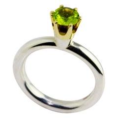 Silver 14 Karat Yellow Gold Peridot Crown Ring