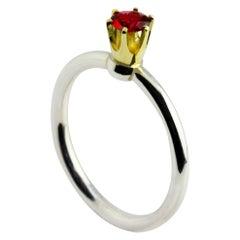 Silver 14 Karat Yellow Gold Red Spinel Crown Ring