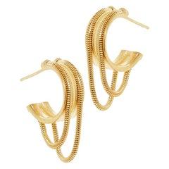 Silver 18 Karat Gold-Plated Snake Chain Mini Double Hoops Minimal Greek Earrings