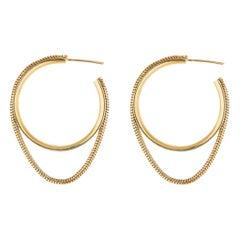 Silver 18 Karat Gold-Plated Snake Chain Small Hoops Minimal Small Greek Earrings