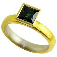 Silver 18 Karat 22 Karat Yellow Gold Blue Green Sapphire Ring