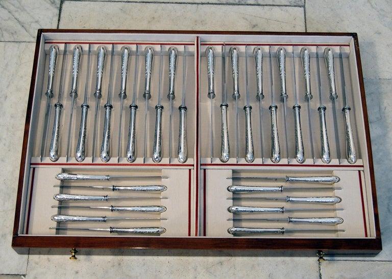 Silver 234-Pieces Cutlery Set 12 Persons Spain Orion Art Nouveau Cabinet ca.1900 For Sale 5
